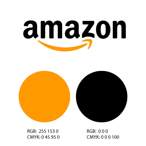 Colores RGB y CMYK del logo de Amazon