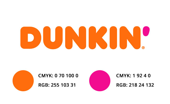 DUNKIN DONUTS COLORES RGB Y CMYK